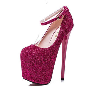 Fashion Sequins 19cm Super High Heels Pumps  Women Party Thin Heel Platform Dress Shoes