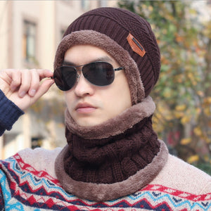 Brand Beanies Knit Men's Winter Hat Cap Skullies Bonnet Winter Hats For Men Beanie Warm Baggy Knitted Hat and Scarf Set - moonaro