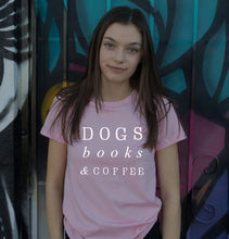 Load image into Gallery viewer, Dogs books & coffee tumblr t shirts Women T-shirt Funny letter printed - moonaro