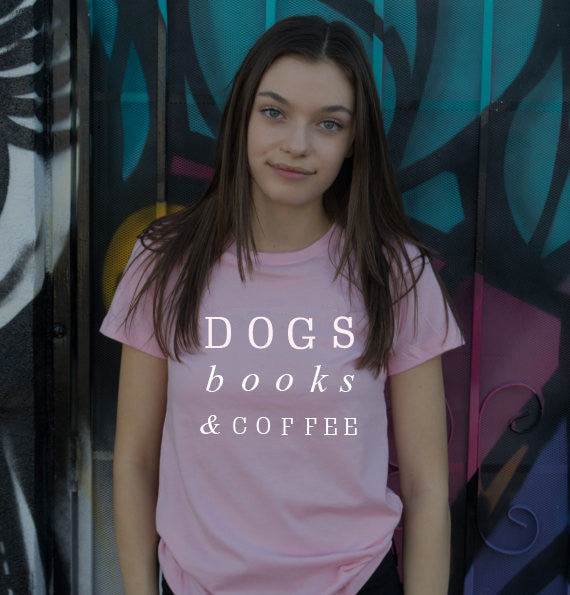 Dogs books & coffee tumblr t shirts Women T-shirt Funny letter printed - moonaro