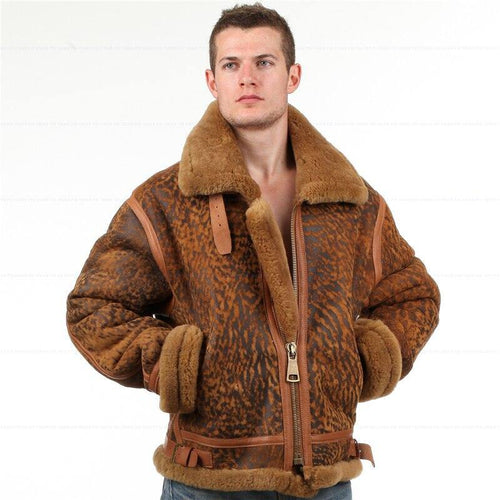 B3 shearling Bomber Fur military Leather jacket Environmental protection of leather Men women