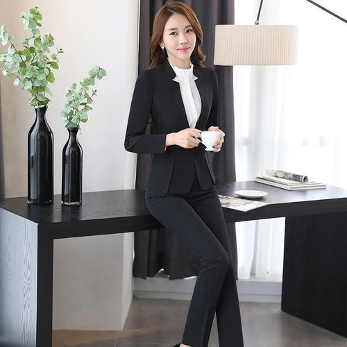 2 piece Pant Suits OL Designs Women elegant Business Work Wear Jacket with Trousers Sets - moonaro