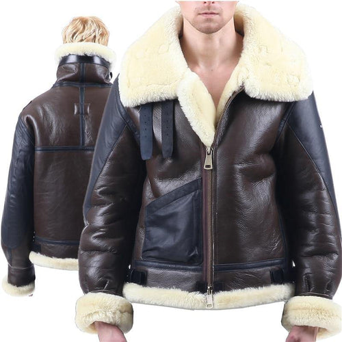 B3 shearling Bomber Fur military Leather jacket Environmental protection of leather Men