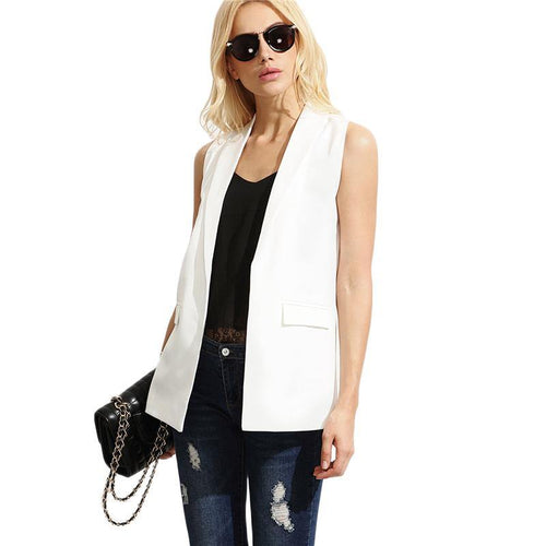 Blazer Vest OL Elegant Open Front Women White Sleeveless Waistcoat Brief Slim Pockets Work Vest