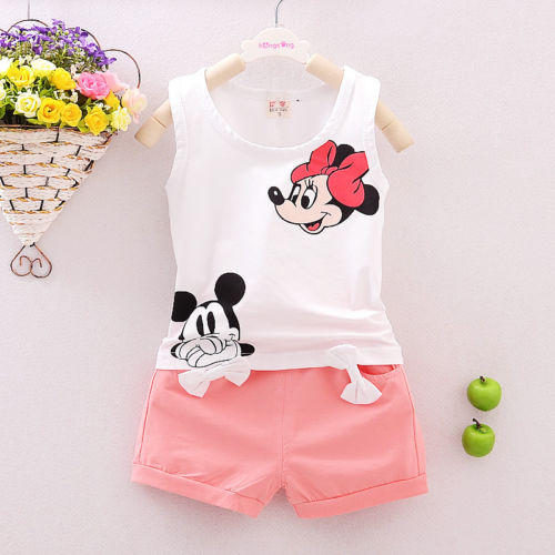 Cute Cartoon 2PCS Kids Baby Girls Floral Vest Top Shorts Pants Set Clothes Girls Clothing Sets - moonaro