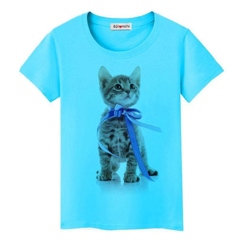 Blue Ribbon cat gift T-shirt women/girl new trend tops lovely personality shirts Good quality brand clothes cool tees - moonaro