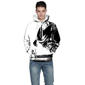 Fashion Sweatshirts Men/Women 3d Hoodies Print Ink Skulls And Small Dragon Hooded Hoodies Thin Pullovers - moonaro