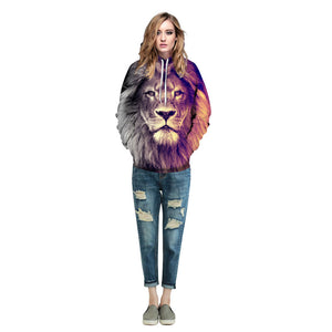 New Fashion Animal Style Sweatshirts Men/Women Pullovers Print Lion Hoodies Hooded Tracksuits Autumn Thin Tops
