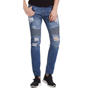New Ripped Men Biker Hole Jeans Slim Skinny Denim Calca Masculina Destroyed Distressed Jeans - moonaro