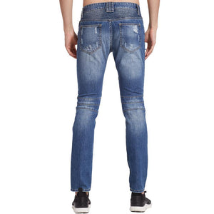 New Ripped Men Biker Hole Jeans Slim Skinny Denim Calca Masculina Destroyed Distressed Jeans