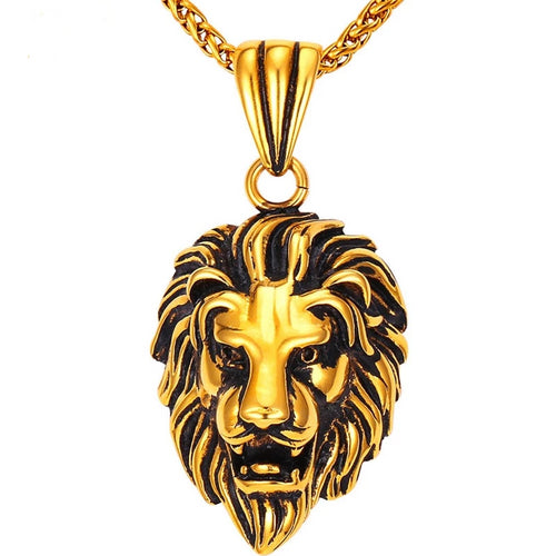Black Lion Charms Necklace Rock Punk Style Men/Women Retro Jewelry Gold Color Stainless Steel Chain Necklace & Pendant - moonaro