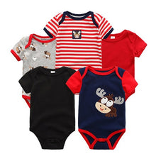 Load image into Gallery viewer, 5PCS/LOT Unisex Top Quality Baby Rompers Short Sleeve Cottom O-Neck 0-12M Novel Newborn Boys&Girls Roupas de bebe Baby Clothes - moonaro