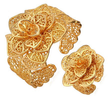 Load image into Gallery viewer, Vintage Big Bracelets Cuff Bangles And Ring Set Gold Color Exquisite Pattern Flower Jewelry Set For Women Wedding Gift