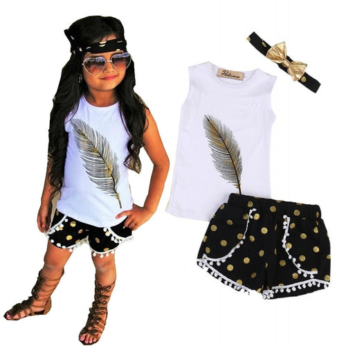 3 Pcs Little Girls Summer Feather Clothing Set Kids Girl Outfits Sleeveless Vest Tops+Tassels Shorts Bottom+Headband Clothes - moonaro