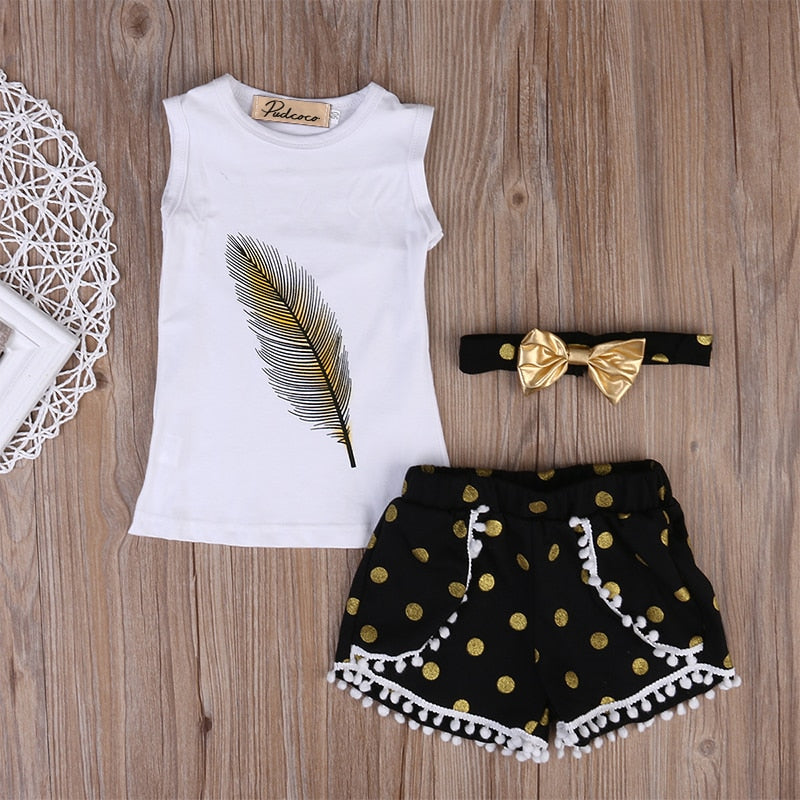 ab260a63a 3 Pcs Little Girls Summer Feather Clothing Set Kids Girl Outfits Sleeveless  Vest Tops+Tassels Shorts Bottom+Headband Clothes