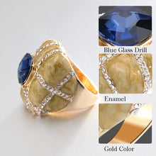 Load image into Gallery viewer, Unique Big Ring Fashion Gold Enamel Rings For Women Blue Glass Stone And White Crystal Cross Mosaic Vintage Jewelry