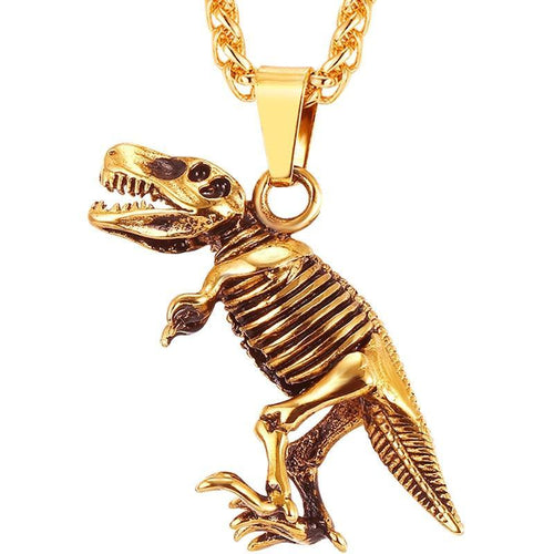 Stainless Steel Tyrannosaurus Rex Pendant Necklace Gold/Black Color Dinosaur Bones Fossil Punk Animal Men Jewelry