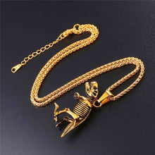 Load image into Gallery viewer, Stainless Steel Tyrannosaurus Rex Pendant Necklace Gold/Black Color Dinosaur Bones Fossil Punk Animal Men Jewelry