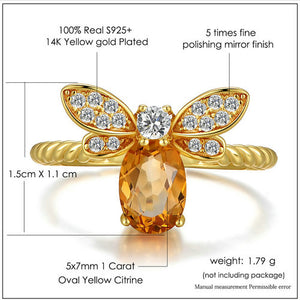 Bee Rings for Women Natural Oval Citrine 925 Sterling Silver Fine Jewelry Party Ring - moonaro