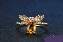Load image into Gallery viewer, Bee Rings for Women Natural Oval Citrine 925 Sterling Silver Fine Jewelry Party Ring - moonaro