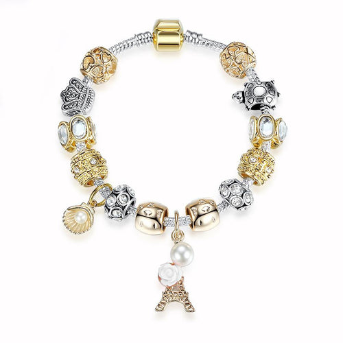 Gold-color Bell Beads Bracelets Crystal Eiffel Tower Charm Bracelet