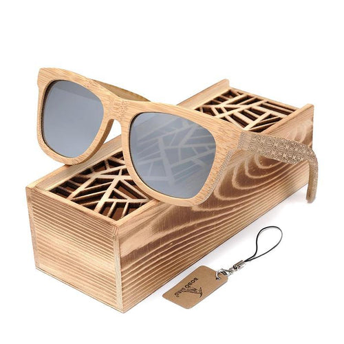Natural Wooden Beach Personality engraving Sunglasses Square Polarized Sun Glasses Vintage sunglass With Gift box