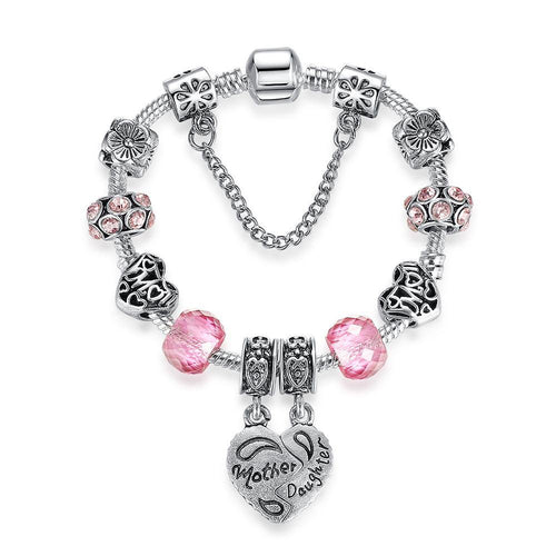 Silver Heart Charm Bracelet for Women Murano Pink Crystal Glass Bead Bracelet