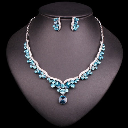 Fashion Crystal Bridal Jewelry Sets for Bride Necklace Earrings Wedding Party Costume Jewellery Set Accessories Decoration Women - moonaro