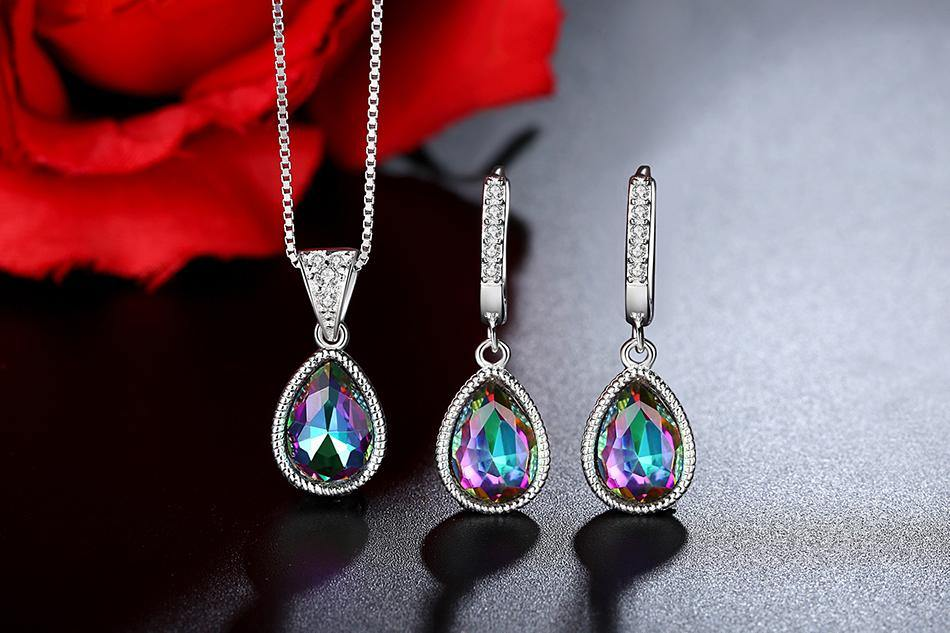 Pear Shape Gem Stone Rainbow Mystic Crystal Necklace/Pendant/Earrings for Women 925 Sterling Silver Jewelry