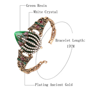 Vintage  Bracelet For Women Color Ancient Gold Mosaic White Crystal Turkish Jewelry Gift