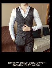 Load image into Gallery viewer, Autumn Formal Mens Suits Wedding Groom Costume Homme Slim Fit British Decent Dinner Suit Grey Blue - moonaro