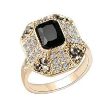 Load image into Gallery viewer, Crystal Ring Fashion Color Gold Vintage Jewelry Square Black Main Stone Rings For Women Love Gifts - moonaro