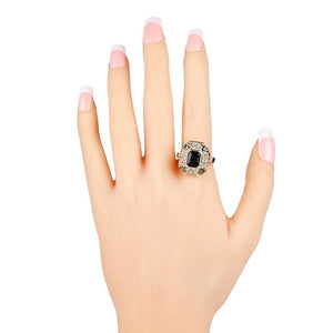 Crystal Ring Fashion Color Gold Vintage Jewelry Square Black Main Stone Rings For Women Love Gifts - moonaro