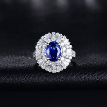 Load image into Gallery viewer, Luxury Fine Jewelry Solid 18K White Gold Blue Sapphire Diamonds Wedding Rings for Women Engagement Christmas Gift
