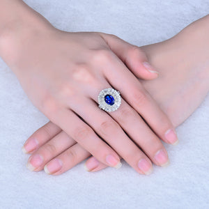 Luxury Fine Jewelry Solid 18K White Gold Blue Sapphire Diamonds Wedding Rings for Women Engagement Christmas Gift