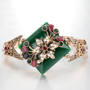Green Big Bracelet For Women Vintage Jewelry Antique Gold Color Turkish Party Bracelets Bijouterie - moonaro