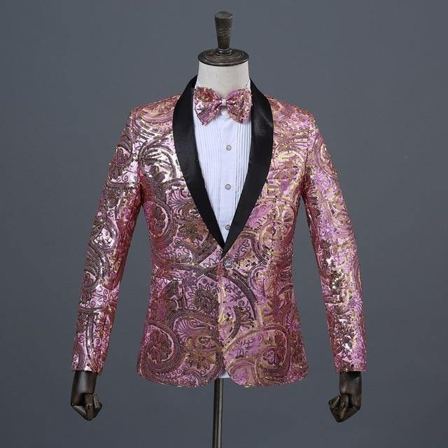 Men's Pink Gold Flower Sequins Fancy Paillette Wedding Singer Stage Performance Suit Jacket DJ Blazer With Bow Tie