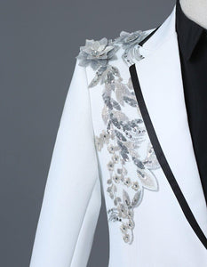 Male Double-side 3D Crystal Embroidery Flowers Stage Singer Nightclub Suit Jacket Tide Bar Men's Wedding Blazer - moonaro