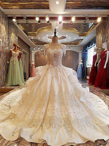 Gorgeous ivory bridal gown 3D flowers beading sleeves ball gown lace wedding dress vestidos de noivas real photos