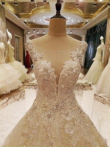 elegant bridal gowns cape sleeves ball gown flower wedding gowns with long tail robe de mariage real photos