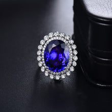 Load image into Gallery viewer, 18Kt White Gold Genuine Tanzanite Women Ring Real Diamond Jewelry Dual Use Function Jewelry Rings Pendant - moonaro