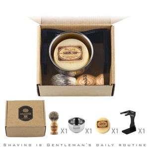 Barber Shaving Brush Badger Hair+Black Acrylic Stand+bowl+Soap Set - moonaro