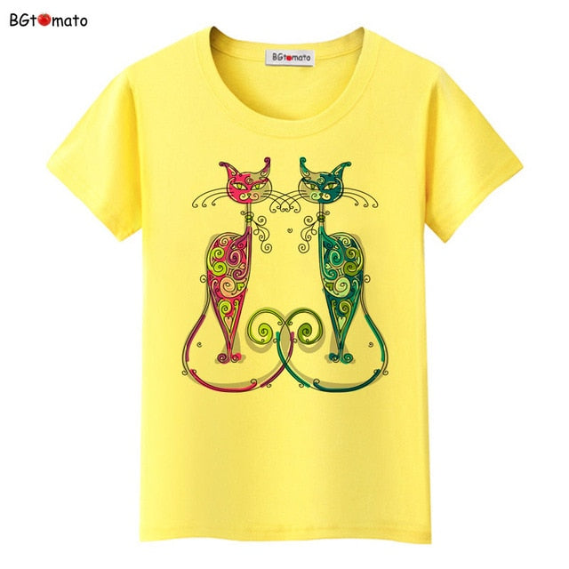 New style elegent cats shirt brand casual top tees fashion t shirt women comfortable clothes women t-shirt plus size