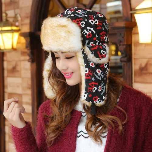 Fur Cap Women Warm Ushanka Hats Female Earflap Hats for Winter Love Printed Bomber Hat