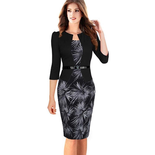 Women Winter One-piece Faux Jacket Brief Elegant Patterns Work dress Office Bodycon Sheath Dress