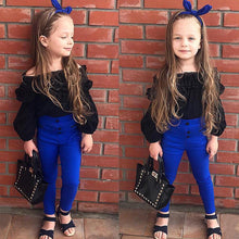 Load image into Gallery viewer, Children Girls Cute Clothes Sets Off Shoulder Ruffles Tops T-shirt +High Waist Solid Long Pants For Little Ladies - moonaro