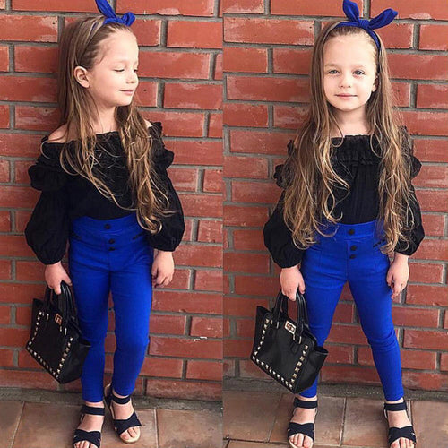 Children Girls Cute Clothes Sets Off Shoulder Ruffles Tops T-shirt +High Waist Solid Long Pants For Little Ladies - moonaro