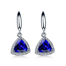 Load image into Gallery viewer, 18K white gold earrings 1.8 CT Certified Genuine triangle Tanzanite drop Earrings with 0.16 ct diamond earrings - moonaro
