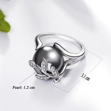 Load image into Gallery viewer, Rose gold ring with Gray Pearl for women Leaf Trendy jewellery