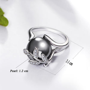 Rose gold ring with Gray Pearl for women Leaf Trendy jewellery